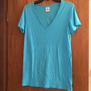 PINK Aqua V-Neck Short Sleeve T-Shirt
